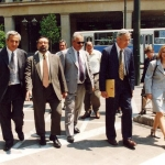 Our walk to the Old Parliament – from left to right: the Mayor of Velo Korinthias Haris Vytiniotis, Stavros Thomadakis, Demetrios Christodoulou (on the back), John Nash, Constantina Kottaridi, Alicia Nash (on the back)